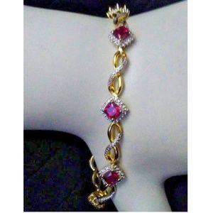 925 Sterling Silver Ruby Diamond Simulant Bracelet